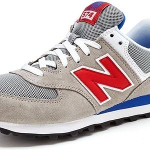 NEW BALANCE RETRO RED STYLE GRAY TRAINER SNEAKERS NWT